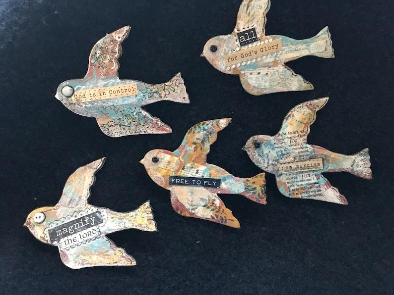 Handmade Bird Magnets-Mixed Media Bird-Faith Magnet-Bird image 0