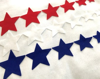 Felt Star Shapes in 6 Sizes-DIY Kits for Patriotic Holidays 4th of July-Star Shapes for Garland-Decorating-Cards-Americana-Fabric Decor