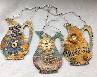 Handmade Ornaments-Mixed Media Collage-Pitcher Shaped-Inspirational Art-Keepsake-Bible Verse Art Hangings-Bible Journaling-Women Gift