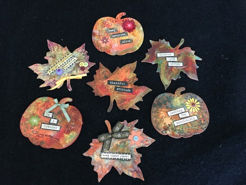 Handmade Magnets-Leaf & Pumpkin Shape Magnets-Farmhouse image 0