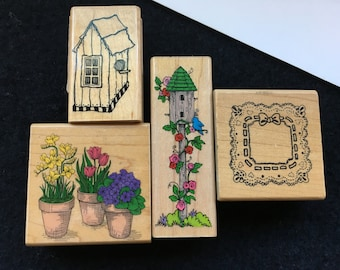 Vintage Rubber Stamps-Garden Themed Rubber Stamps-Spring Flowers-Birdhouses-Imagine That-Hero Arts-Lacy Square Doily-Ribbon-Stamp