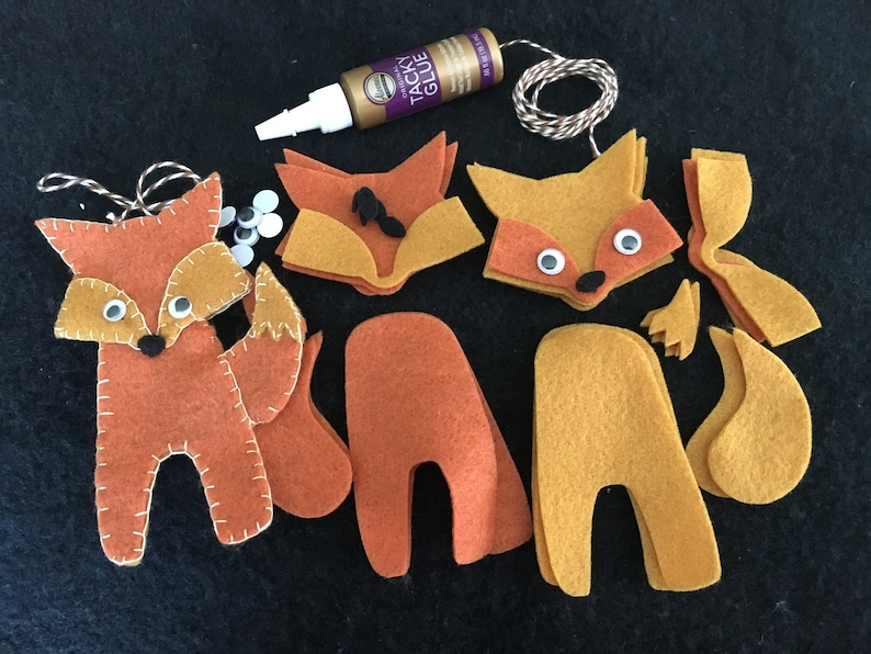 DIY Felt Fox Ornament Kit-Felt Gift Tag-Felt Fox image 0