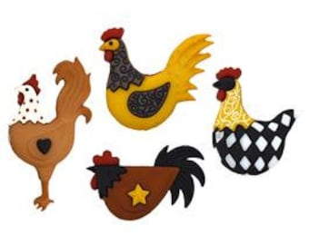 Chicken Rooster Buttons-Folk Art Rooster Embellishments-Farm Style Decorative Buttons-Accessories-DIY Maker Kits-Decorations-Homestead Gifts