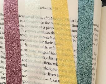Pink-White-Yellow-Sky Blue-Glitter Tape-Glitter Tape-Illustrated Art Faith-Bible Journaling-Scrapbooking-Card-Making-Tape Embellishments