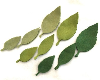 Wool Felt Leaves-Applique-Penny Rug- Primitive Stitching Quilting Embellishments-Needle Felt-Wool-DIY Crafts-Green Leaves-Holiday Crafts