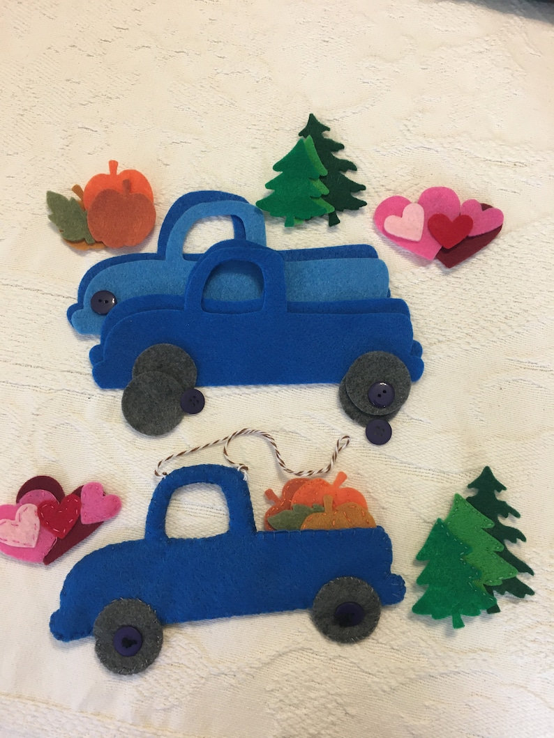 DIY Felt Farmhouse Style Truck Ornaments Holiday Craft image 0