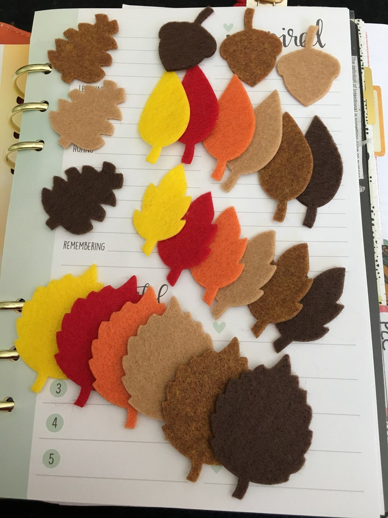 Felt Fall Leaves Stickers-Fuzzy Stickers-Bible Journaling-DIY image 0