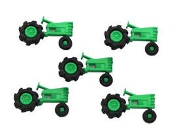 Green Tractor Buttons-Tractor Embellishments-Iconic Green Tractor Decorative Buttons-Accessories-DIY Maker Kits-Decorations-Homestead Gifts