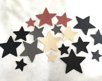 Denim Iron-On-Star Appliques-Patriotic Apparel-July 4th Decor-Raw Denim Star Appliques-Iron On Star Patch-Decor-Denim Star Cutouts