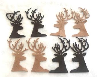 Wool Felt Deer Antlers-Applique-Penny Rug- Primitive Stitching Quilting Embellishments-Needle Felt-Wool-DIY Crafts-Stag Deer Head-Hunting