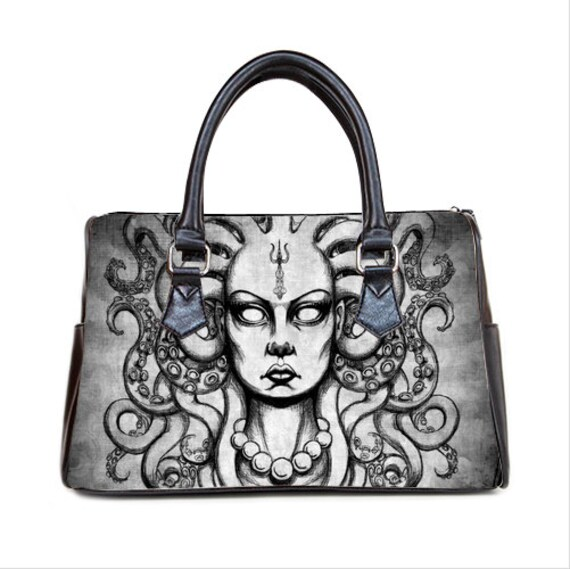 Medusa with tentacles Barrel Style Handbag