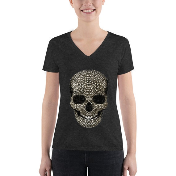 Beaded Skull Women's Fashion Deep V-neck Tee