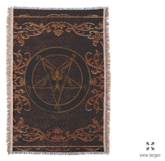 Grimoire tapestry sigil of Baphomet throw blanket