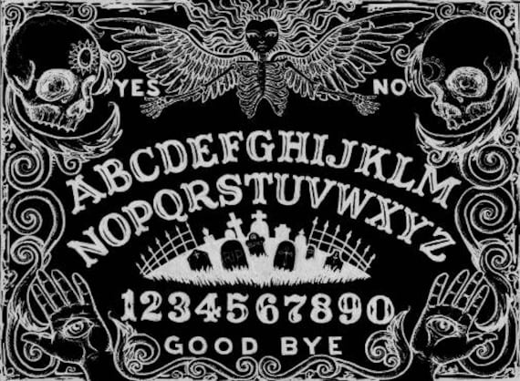 Black Ouija Board Stretched canvas print