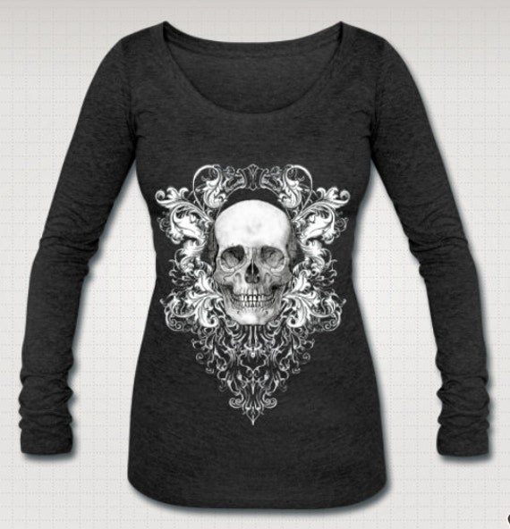 Scabby Chic Skull long sleeve Tee shirt