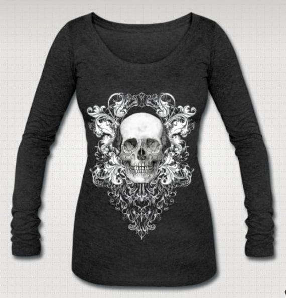Scabby Chic Skull long sleeve Tee shirt