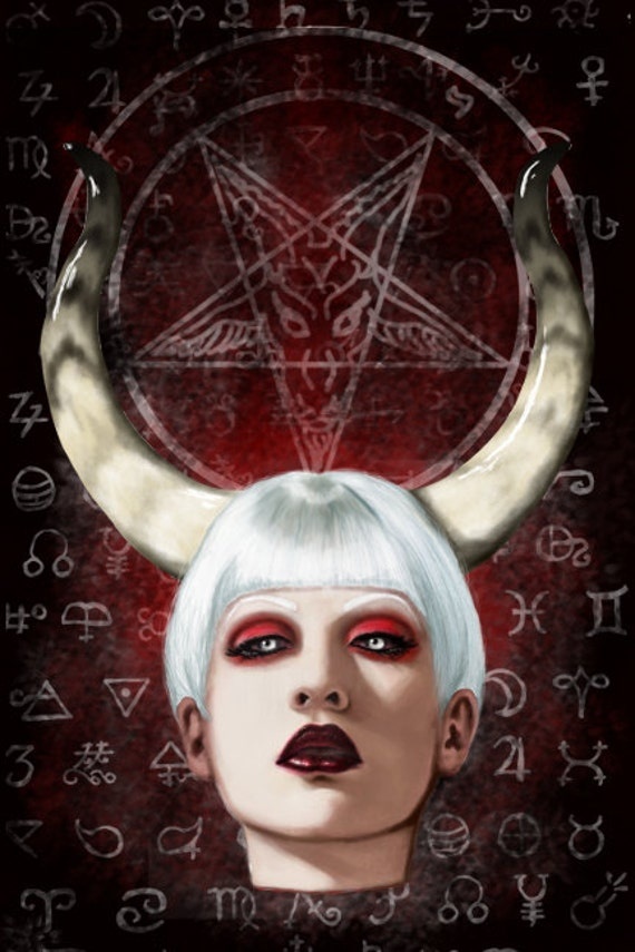 Alchemy Lady Baphomet Stretched canvas print