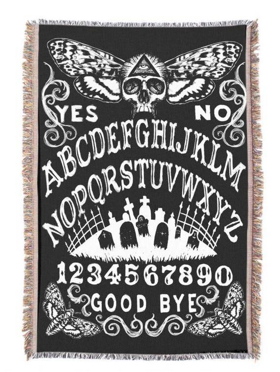 Ouija Death Moth tapestry black throw blanket