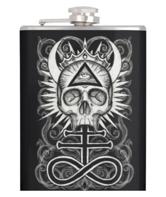 Illuminati Skull alcohol hip flask