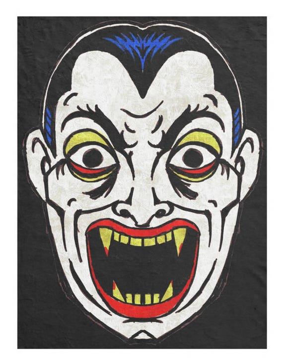 Retro Dracula Mask fleece throw blanket