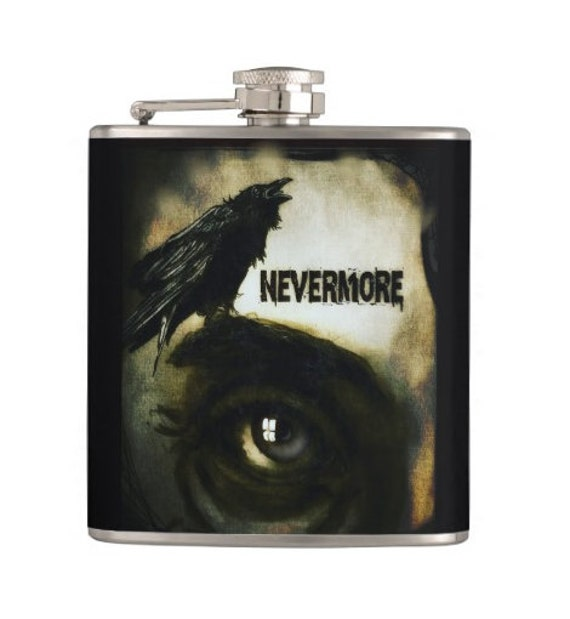 Nevermore Raven Edgar Allen Poe hip flask