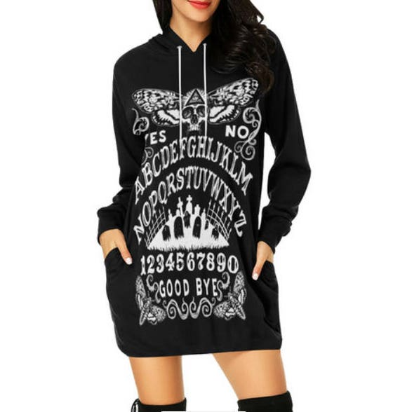 Ouija with Death Moth Hoodie Dress