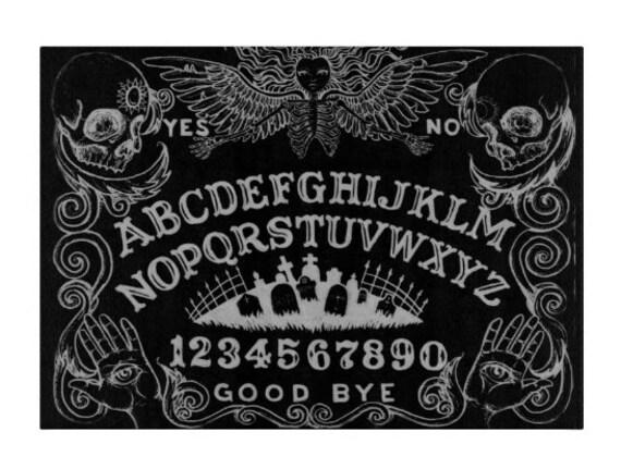 Ouija glass cutting board black