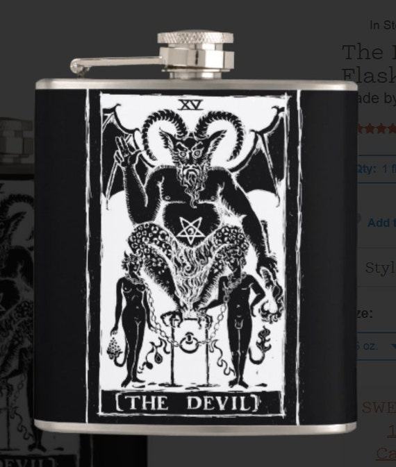 The Devil Tarot Card hip flask