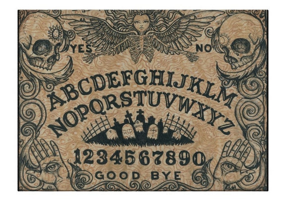 Ouija with Angel of Death glass cutting board