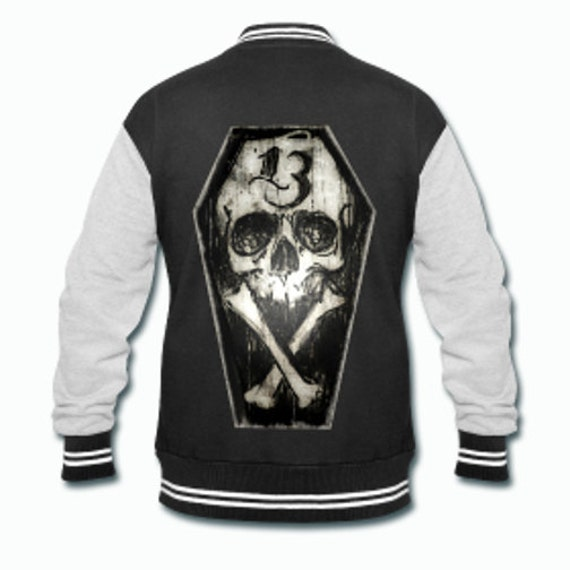 Lucky Thirteen Skull and Bones Varsity Jacket