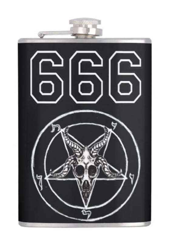 baphomet 666 alcohol flask
