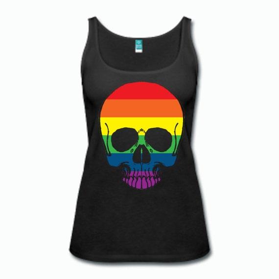 Gay Pride Rainbow Skull Tanktop