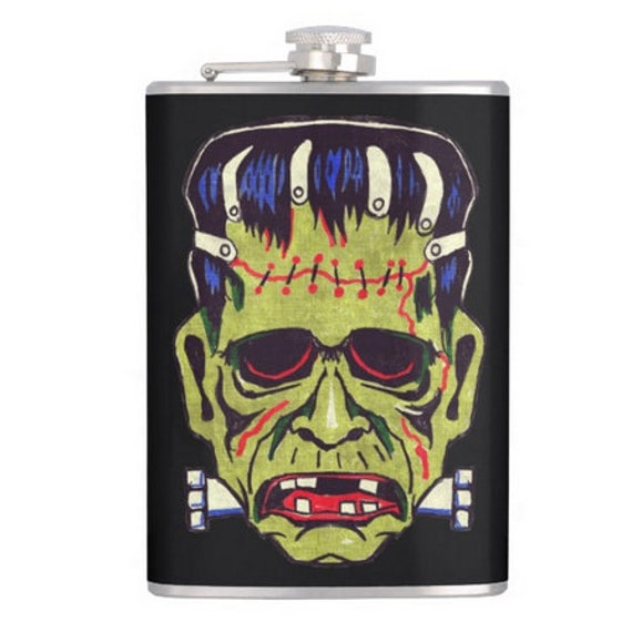 Halloween Frankenstein Mask alcohol hip flask