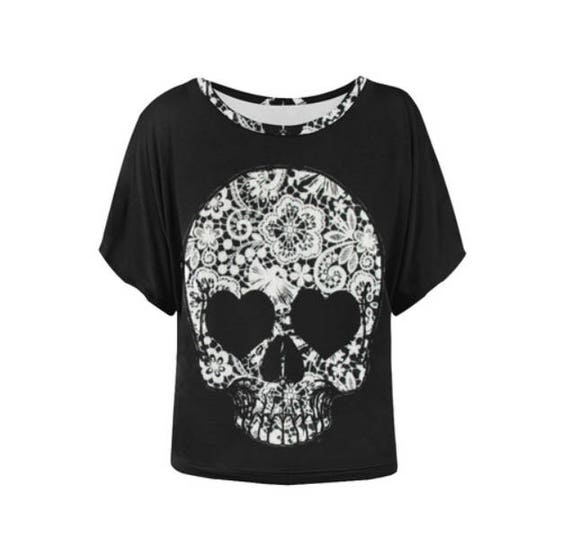 Lace Skull Bat Wing Shirt