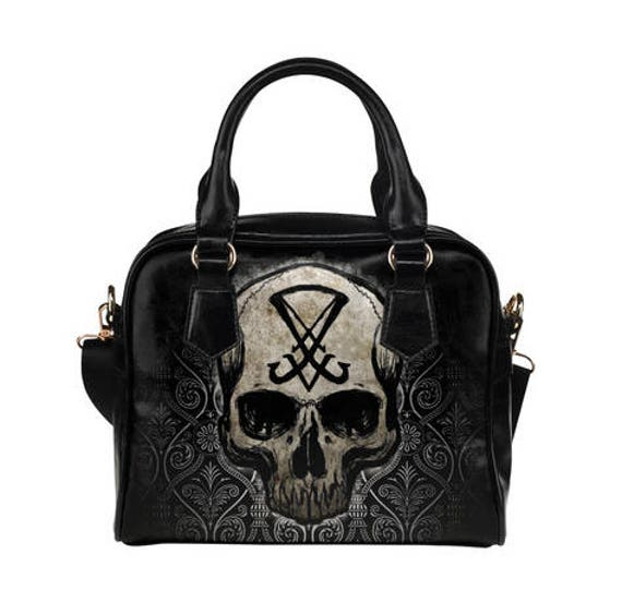 Sigil of Lucifer Skull Shoulder Handbag