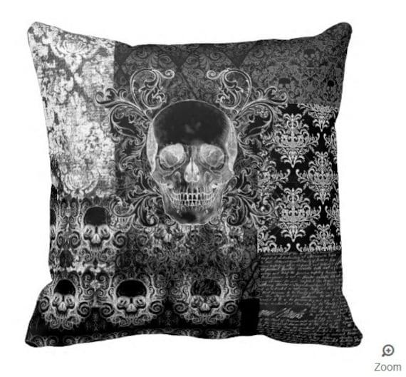 Shabby Chic Ornate Skull throw pillow