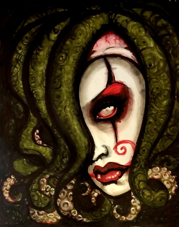 Tentacle Harlequin Clown limited edition art print