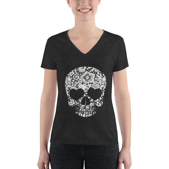 Floral Skull Women's Fashion Deep V-neck Tee