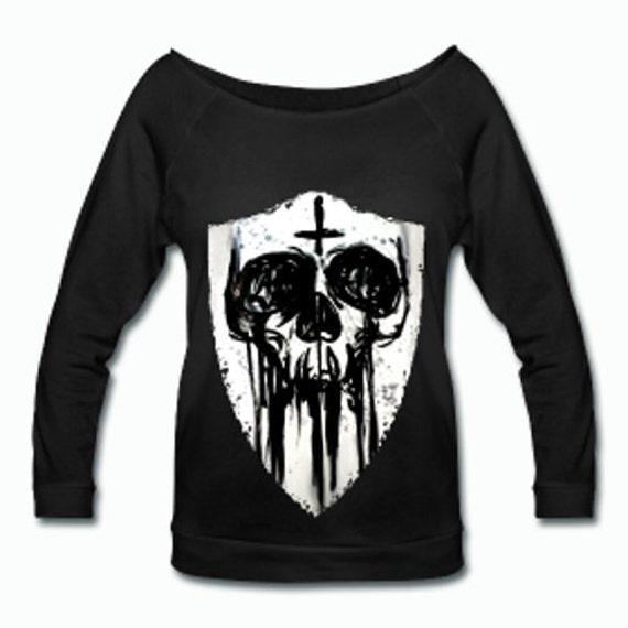 Inky Skull Shield Wideneck 3/4 Sleeve Shirt