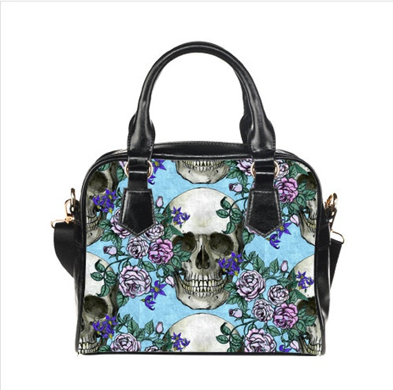 Skulls, roses, and deadly nightshade pastel goth Shoulder Handbag