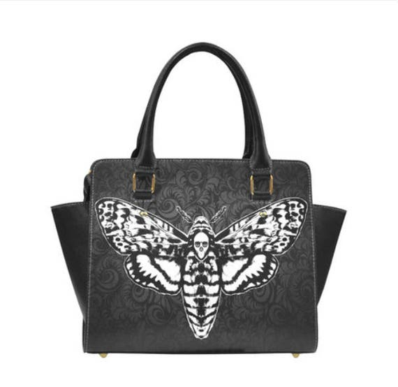 Death Head Moth Shoulder Handbag