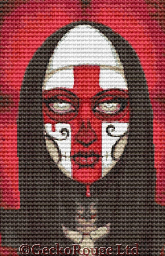 Modern Cross Stitch Kit By Shayne of the Dead 'Reverence' - Needlecraft kit