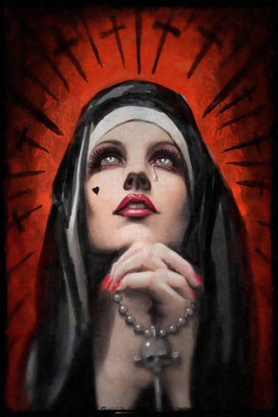 "Praying Nun ""Forsaken"" Stretched canvas print"