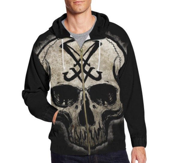 Sigil of Lucifer Skull Zip Hoodie