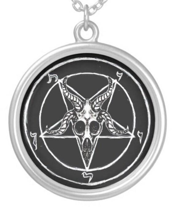 Baphomet Pentagram pendant in sterling silver or silver plate