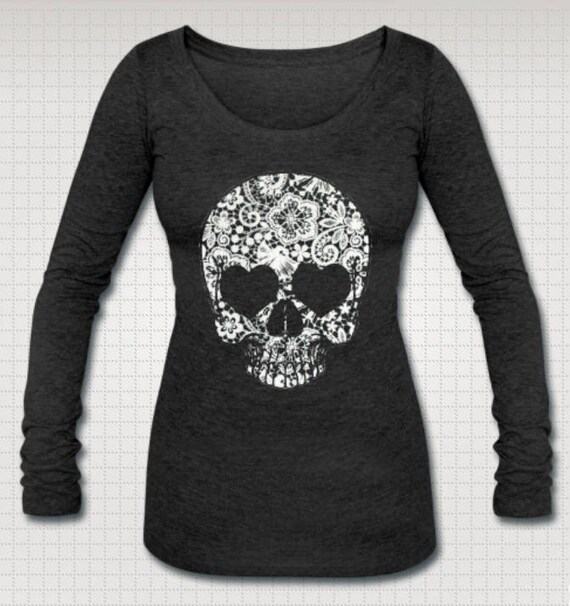Lace Skull Long Sleeve Tee Shirt