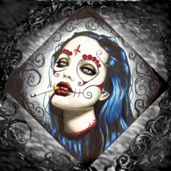 Sugar Skull Angelina Jolie stretched canvas print