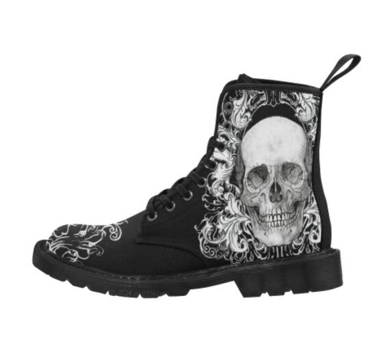 Ornate Skull Boots Gents