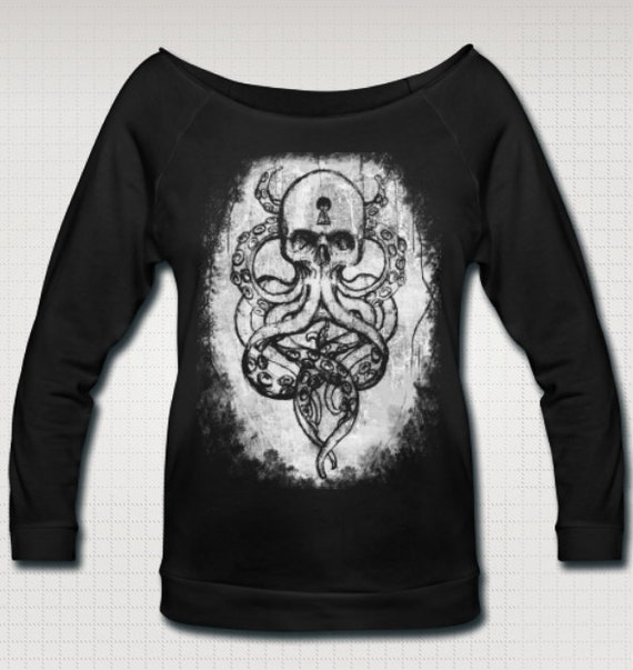 Cthulu Kraken Wideneck 3/4 Sleeve Tee Shirt