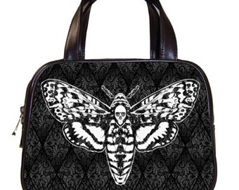 Skull Head Moth on Damask Handbag